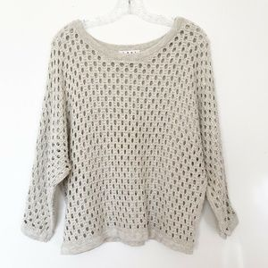 CAbi Seaside Open Knit Cotton Pullover Sweater S